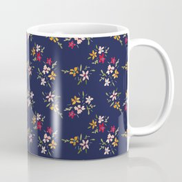 Vintage Inspired Navy Floral Bouquets Coffee Mug