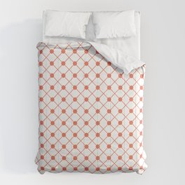 Pantone Living Coral Thin Line Stripe Grid (Pinstripe) and Polka Dots on White Comforters