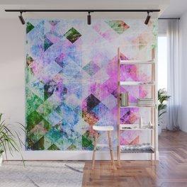 Pink/Blue Geometric Grungy Diamond Pattern Wall Mural