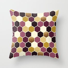 Hexagon Wine and Gold Palette Throw Pillow