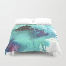 Blue Splash Abstract Watercolor Art Duvet Cover