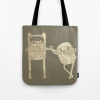 finn and jake Tote Bags featuring Finn & Jake by Laela's Heart