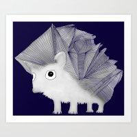 hedgehog Art Prints featuring Hedgehog by Brontosaurus