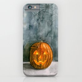 It's Jack o lantern Halloween watercolor illustration iPhone Case