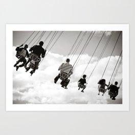 Swing in the sky Art Print
