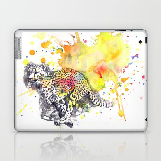 Cheetah running in the air Laptop & iPad Skin