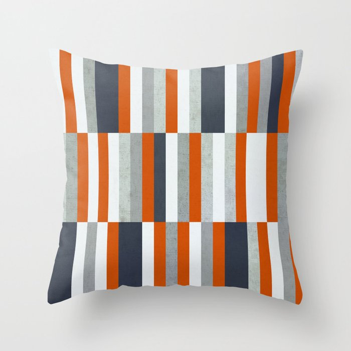 Orange, Navy Blue, Gray / Grey Stripes, Abstract Nautical Maritime Design by Throw Pillow