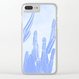 Blue Cactus Clear iPhone Case