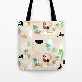 Mid Century Modern Yoga pattern with cats and plants Tote Bag