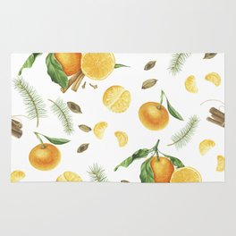 Tangerines, spices and branches of tree Rug