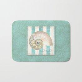 Nautilus Shell Striped Shabby Beach Cottage Watercolor Illustration Bath Mat
