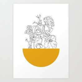 VESSEL - Floral Ink in Mustard - Cooper and Colleen Art Print