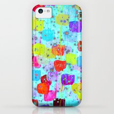 SPECKLE ME DOTTY - Bright Polka Dot Cheerful Aqua Turquoise Blue Rainbow Fine Art Abstract Painting Slim Case iPhone 5c
