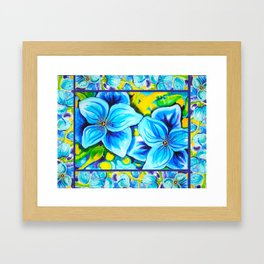 Blue Poppies 3 with Border Framed Art Print