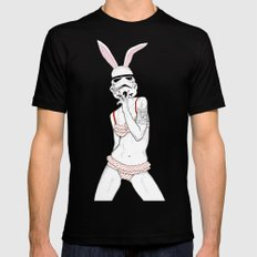 Follow the white rabbit Black Mens Fitted Tee LARGE