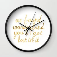 wonderland Wall Clocks featuring Wonderland by Tangerine-Tane