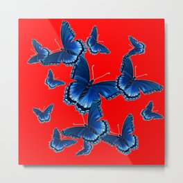 DECORATIVE CHINESE RED PATTERNED  BLUE BUTTERFLY FLOCK Metal Print