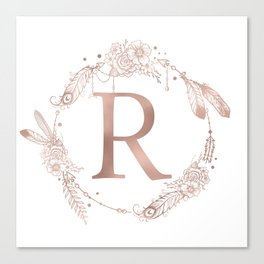 Letter R Rose Gold Pink Initial Monogram Canvas Print