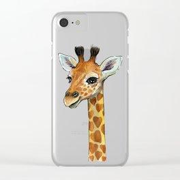 Baby-Giraffe-Nursery-Print-Watercolor-Animal-Portrait-Hearts Clear iPhone Case