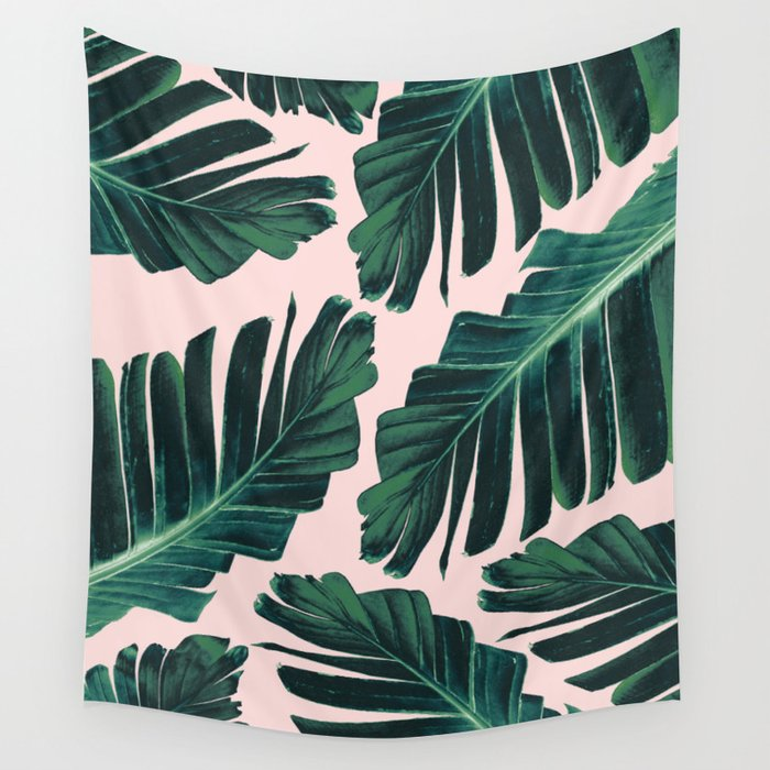 Tropical Blush Banana Leaves Dream #1 #decor #art #society6 Wall Tapestry