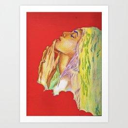 Red Woman Portrait Art Print