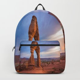 Golden Arch - Delicate Arch at Sunset in Utah Backpack