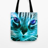 thundercats Tote Bags featuring Lightining Cat by Augustinet