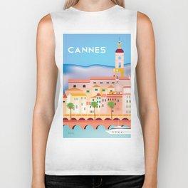 Cannes, France- Skyline Illustration by Loose Petals Biker Tank