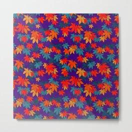 Momiji on Purple pattern Metal Print