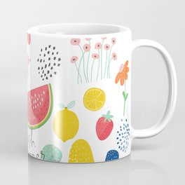 Fresh Summer Fun Desert Bloom & Fruits Pattern Coffee Mug