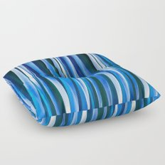Harmony and Peace Blue Striped Abstract Pattern Floor Pillow