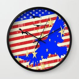 JULY 4TH PATRIOTIC BLUE EAGLE & STARS Wall Clock