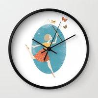 butterflies Wall Clocks featuring Butterflies by Zara Picken