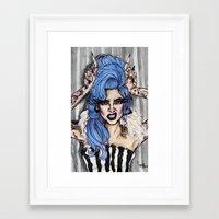 cara delevingne Framed Art Prints featuring Cara Delevingne by vooce & kat