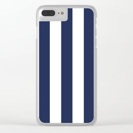 Space cadet blue - solid color - white vertical lines pattern Clear iPhone Case