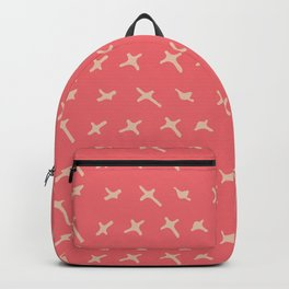 Pink sand brown abstract geometrical hand painted Backpack