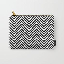 Black and White Hygge Geometric Chevron Wave Stripe Pattern Carry-All Pouch
