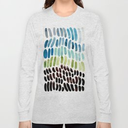 Blue & Green Colorful Aquatic Watercolor Organic Pattern Natural Art Abstract Mid Century Modern Pla Long Sleeve T-shirt