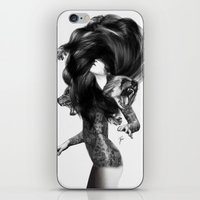 feathers iPhone & iPod Skins featuring Bear #3 by Jenny Liz Rome
