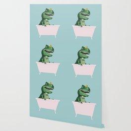 Playful T-Rex in Bathtub in Green Wallpaper