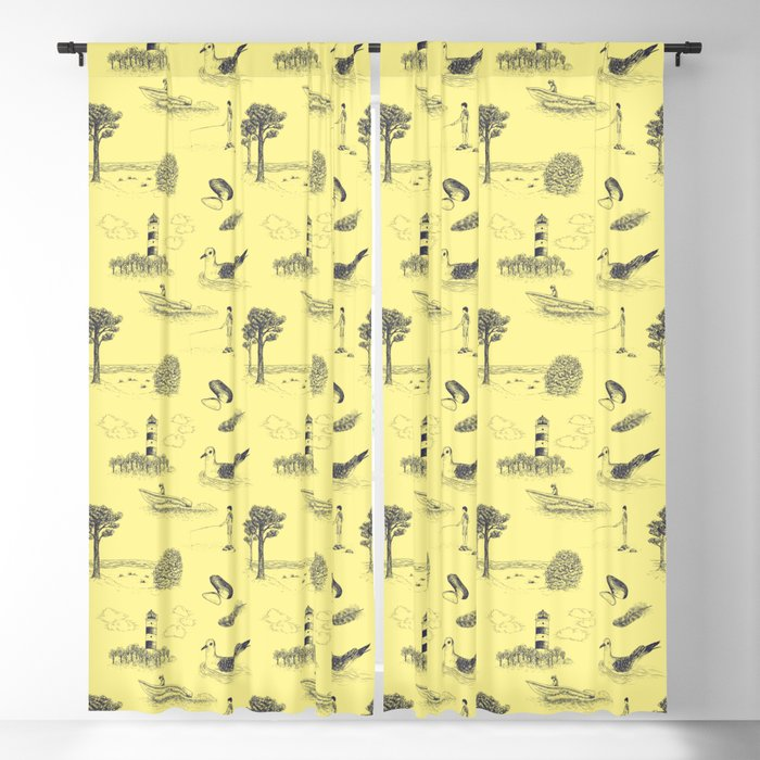 Seaside Town Toile Pattern Yellow And Dark Blue Blackout Curtain By Illucalliart