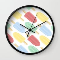 popsicle Wall Clocks featuring Popsicle by Laura Barclay