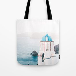 Santorini Greece Mamma Mia blue-white travel photography in hd. Tote Bag