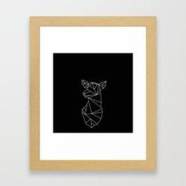 Geometric Doe (White on Black) Framed Art Print