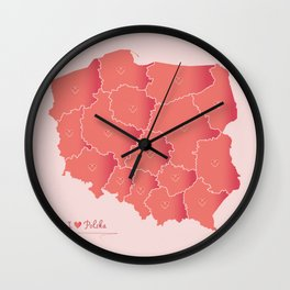 Poland map artwork color illustration pink edition Wall Clock