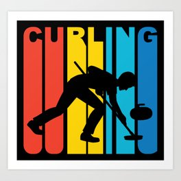 Retro Style Curling Curler Winter Art Print