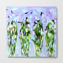The Sky Is Falling Lavender and Green Metal Print