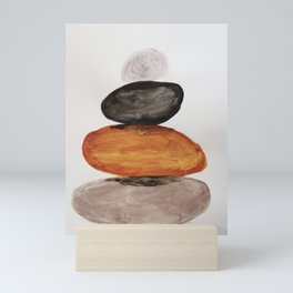 Yoga decor, stacking pebbles, earth tones Mini Art Print
