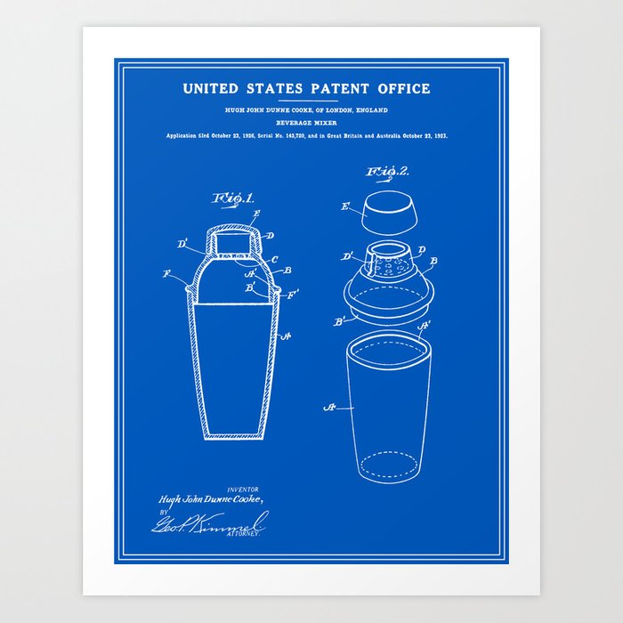 Cocktail shaker patent blueprint art print by finlaymcnevin society6 cocktail shaker patent blueprint art print malvernweather Images