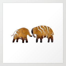 Gingerbread elephants Art Print